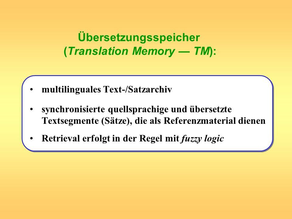 Übersetzungsspeicher (Translation Memory — TM):