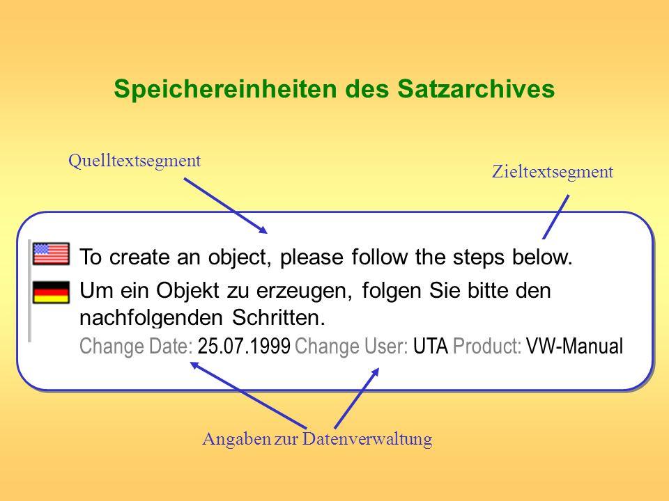 Speichereinheiten des Satzarchives