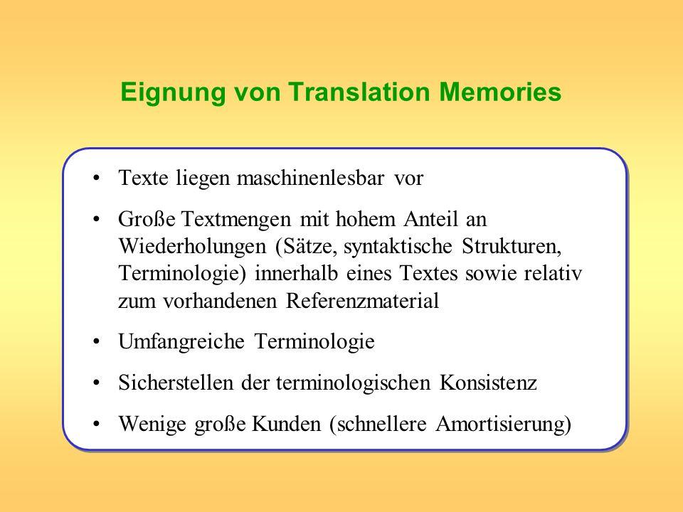 Eignung von Translation Memories