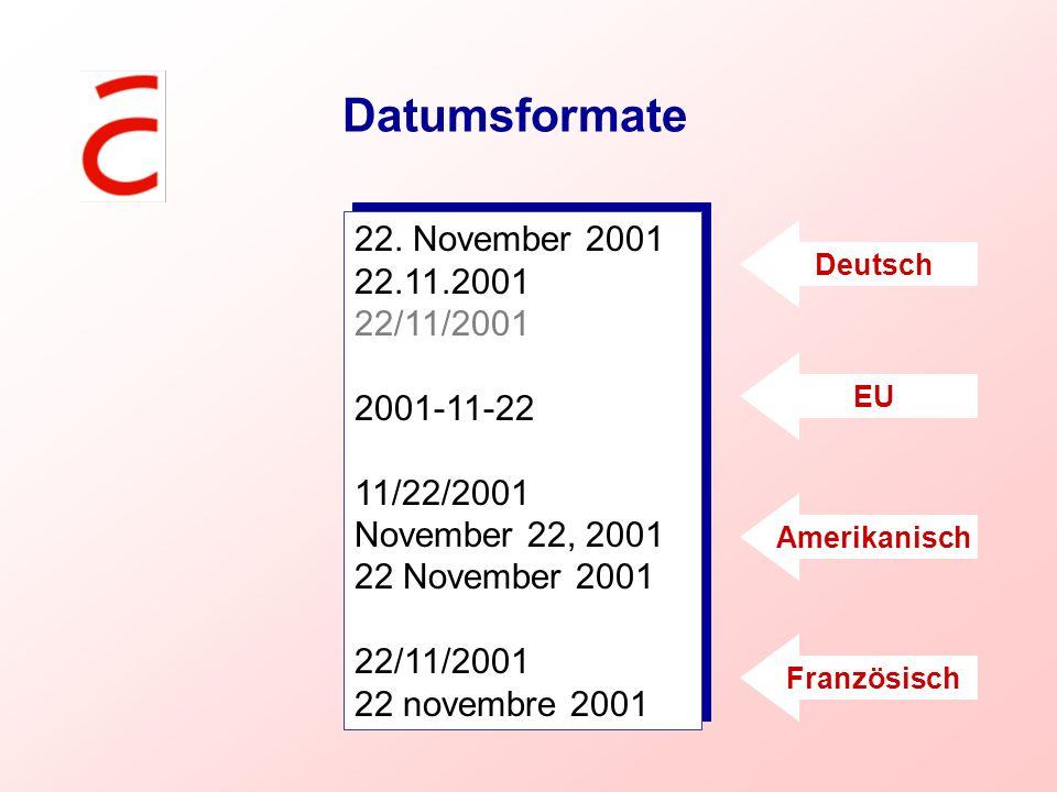 Datumsformate 22. November 2001 22.11.2001 22/11/2001 2001-11-22
