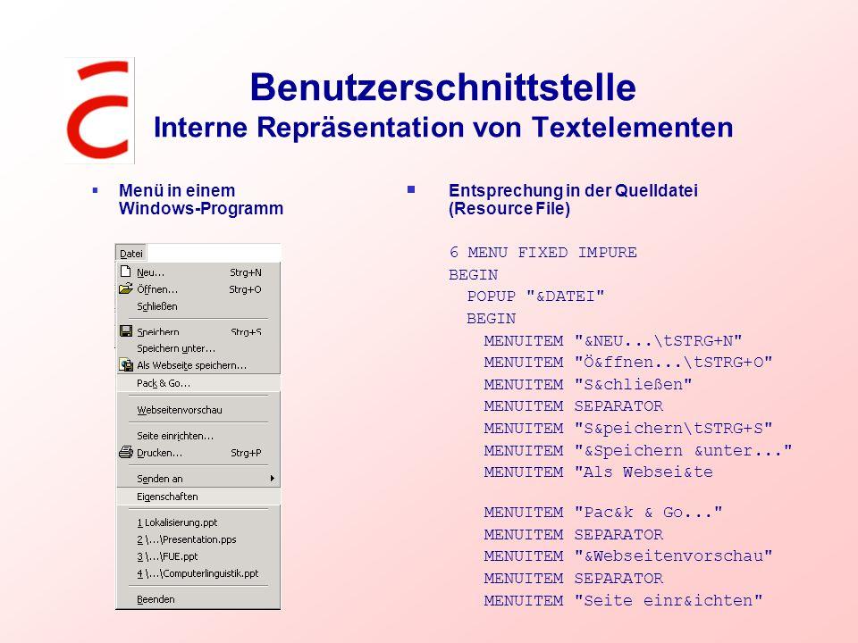 Benutzerschnittstelle Interne Repräsentation von Textelementen