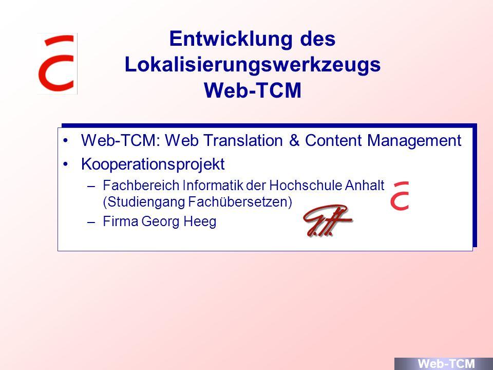Entwicklung des Lokalisierungswerkzeugs Web-TCM