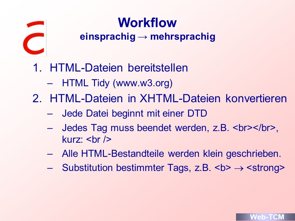 Workflow einsprachig → mehrsprachig