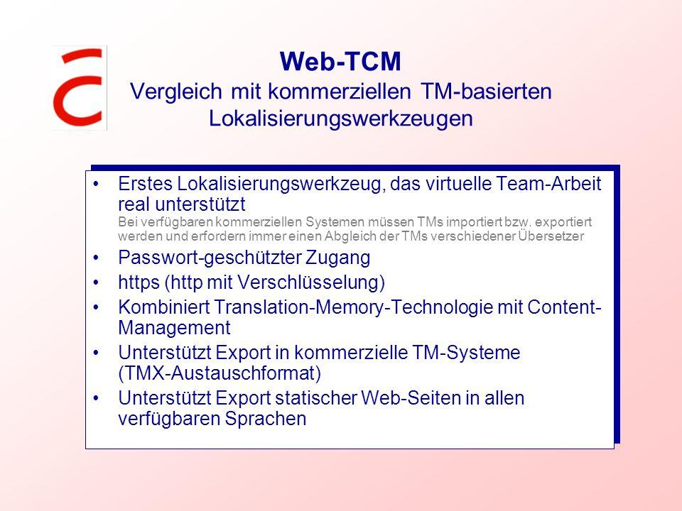 Web-TCM Vergleich mit kommerziellen TM-basierten Lokalisierungswerkzeugen