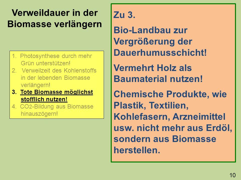 Verweildauer in der Biomasse verlängern