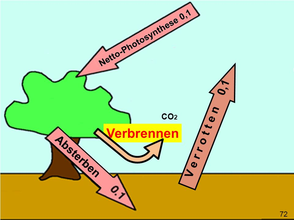 V e r r o t t e n 0,1 CO2 Verbrennen 72