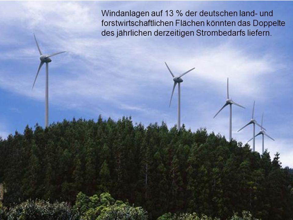 Windanlagen auf 13 % der deutschen land- und forstwirtschaftlichen Flächen könnten das Doppelte des jährlichen derzeitigen Strombedarfs liefern.