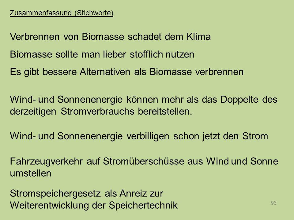 Verbrennen von Biomasse schadet dem Klima