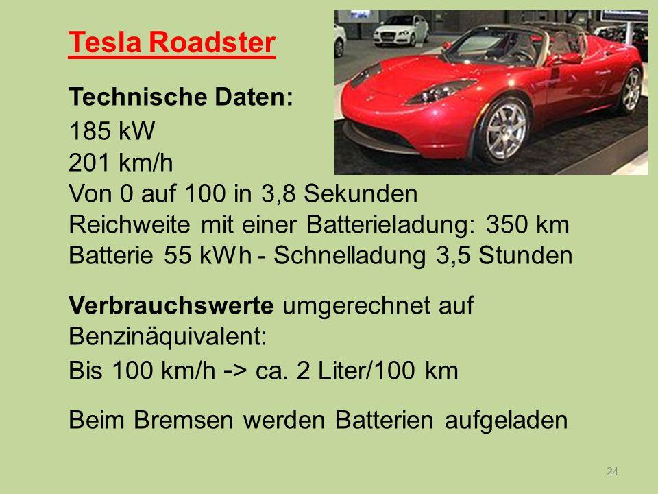 Tesla Roadster Technische Daten: 185 kW 201 km/h