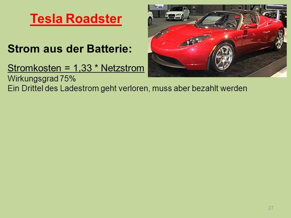 Tesla Roadster Strom aus der Batterie: Stromkosten = 1,33 * Netzstrom