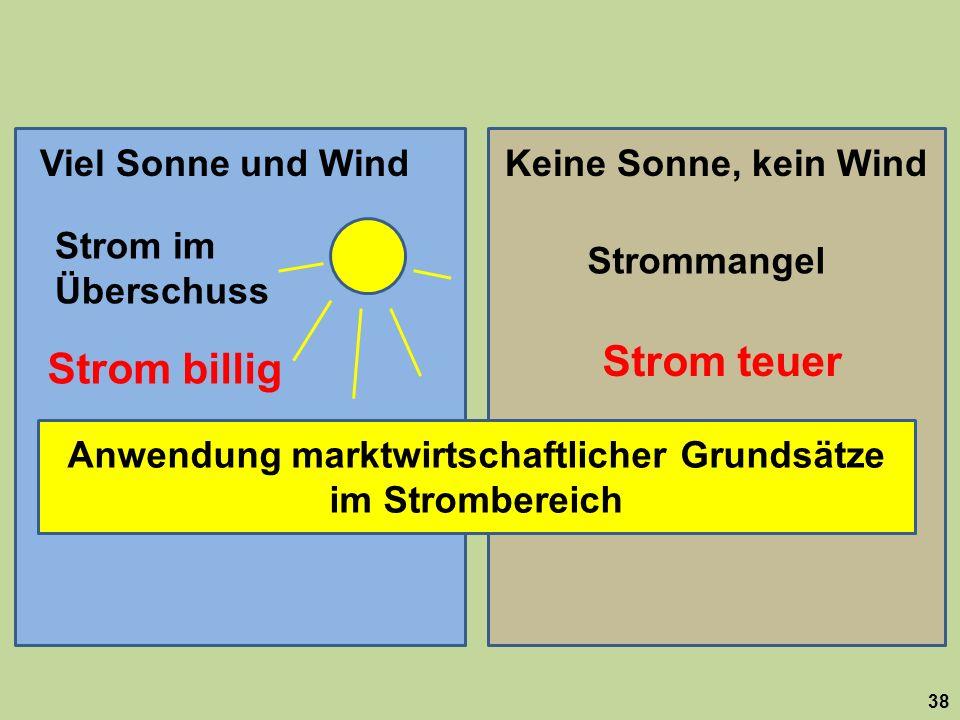Anwendung marktwirtschaftlicher Grundsätze im Strombereich