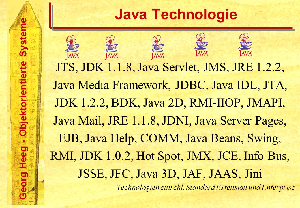 Java Technologie JTS, JDK 1.1.8, Java Servlet, JMS, JRE 1.2.2,