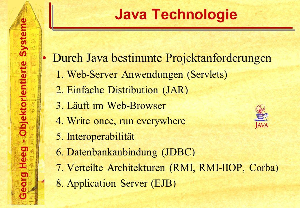 Java Technologie Durch Java bestimmte Projektanforderungen
