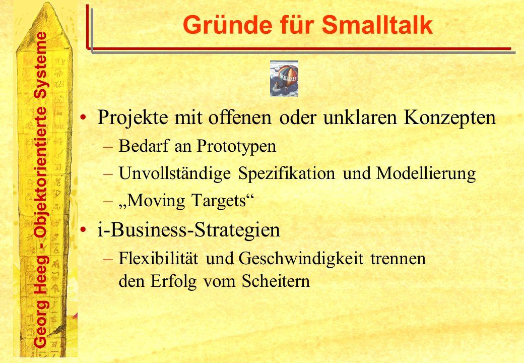 Gründe für Smalltalk Projekte mit offenen oder unklaren Konzepten