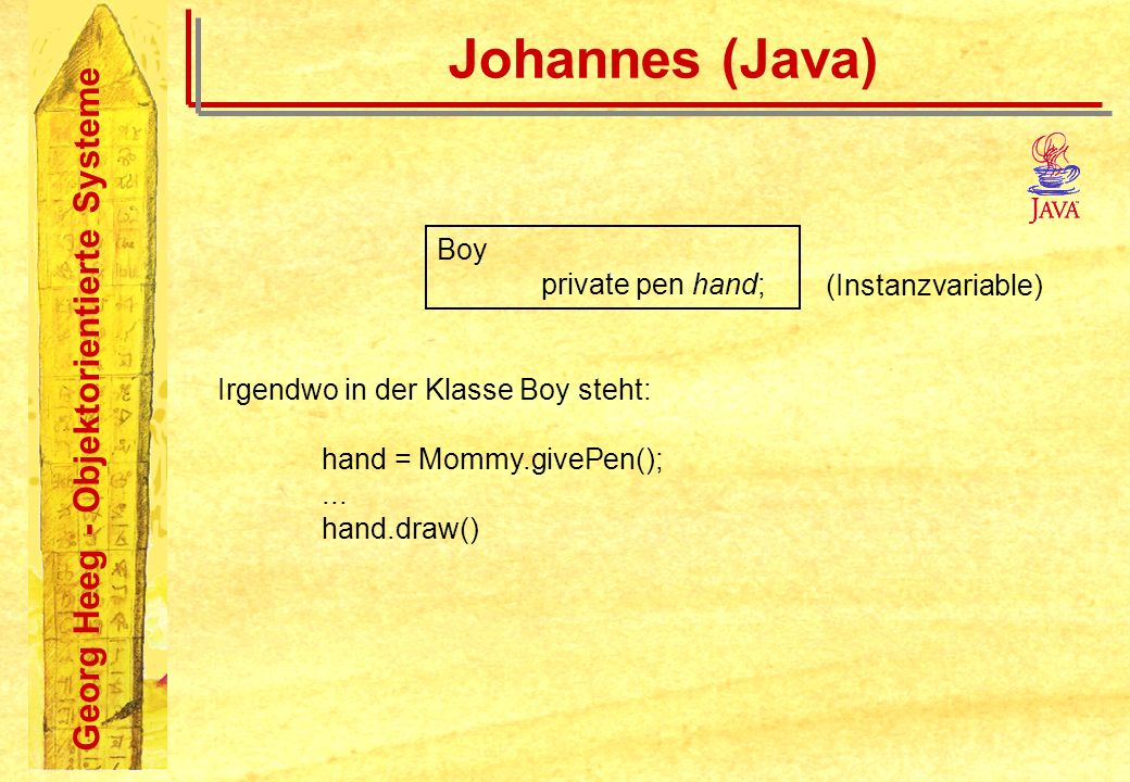 Johannes (Java) Boy private pen hand; (Instanzvariable)