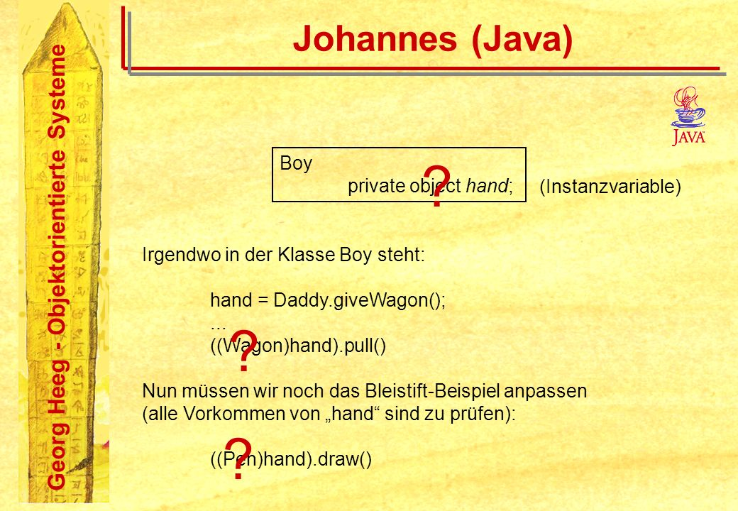 Johannes (Java) Boy private object hand; (Instanzvariable)