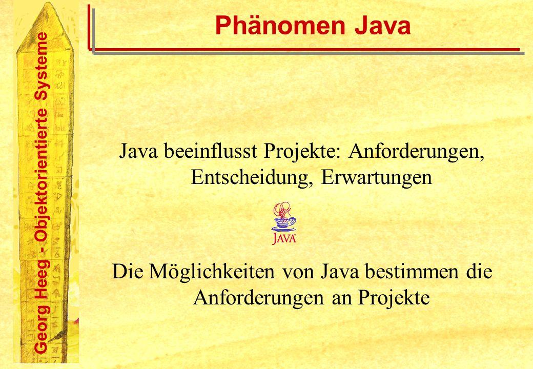 Phänomen Java Java beeinflusst Projekte: Anforderungen, Entscheidung, Erwartungen.