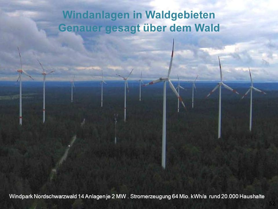 Windanlagen in Waldgebieten Genauer gesagt über dem Wald