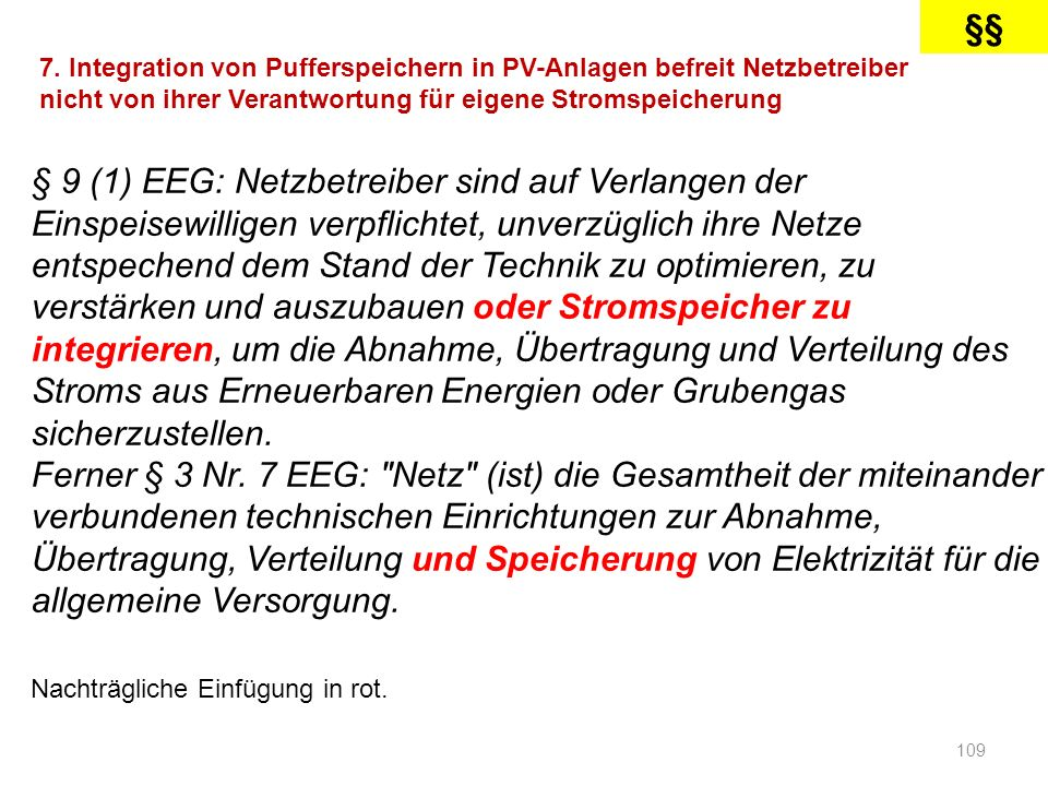 §§ 7. Integration von Pufferspeichern in PV-Anlagen befreit Netzbetreiber nicht von ihrer Verantwortung für eigene Stromspeicherung.