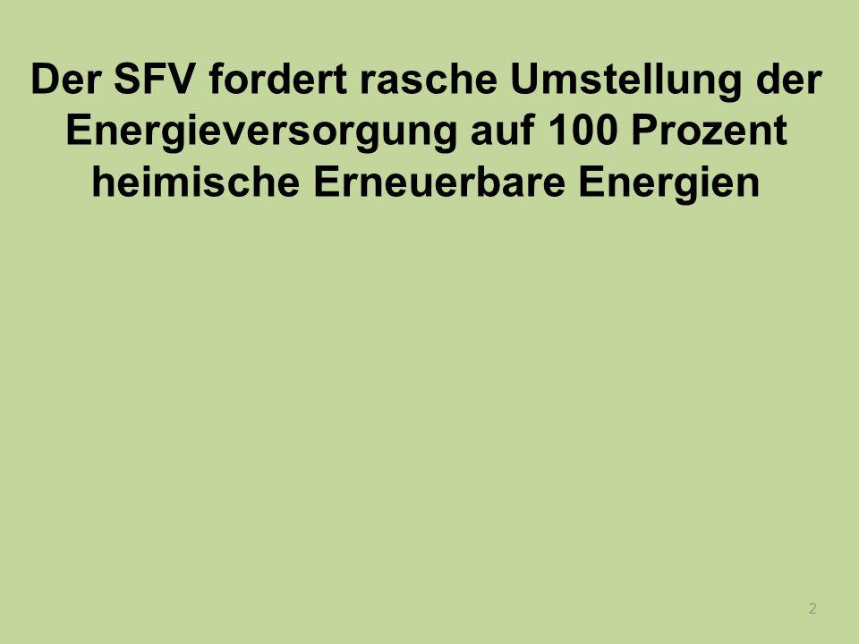 Der SFV fordert rasche Umstellung der Energieversorgung auf 100 Prozent heimische Erneuerbare Energien