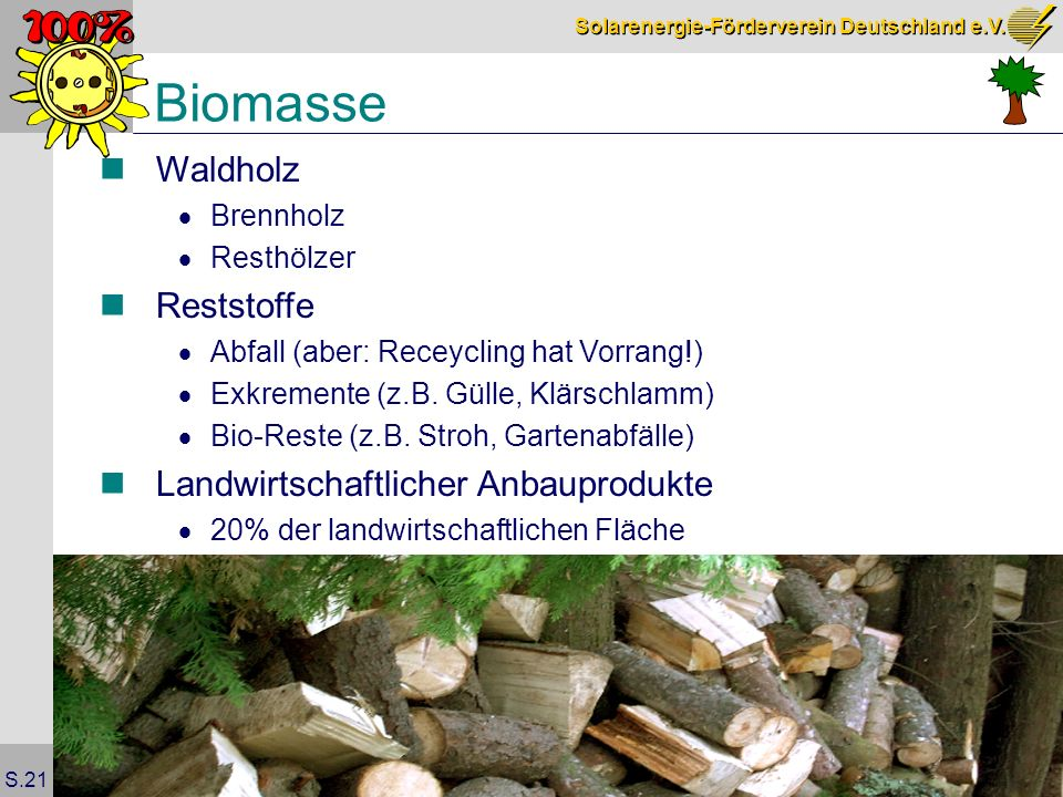 Biomasse Waldholz Reststoffe Landwirtschaftlicher Anbauprodukte