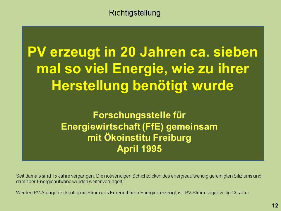 Richtigstellung PV erzeugt in 20 Jahren ca. sieben mal so viel Energie, wie zu ihrer Herstellung benötigt wurde.