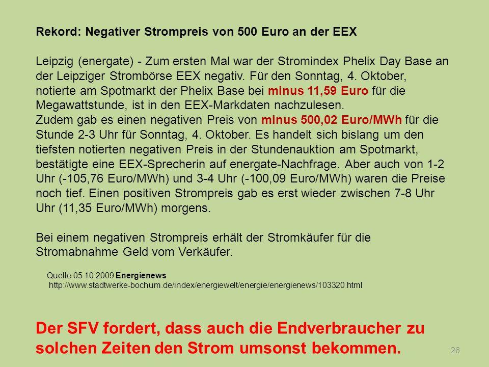 Rekord: Negativer Strompreis von 500 Euro an der EEX