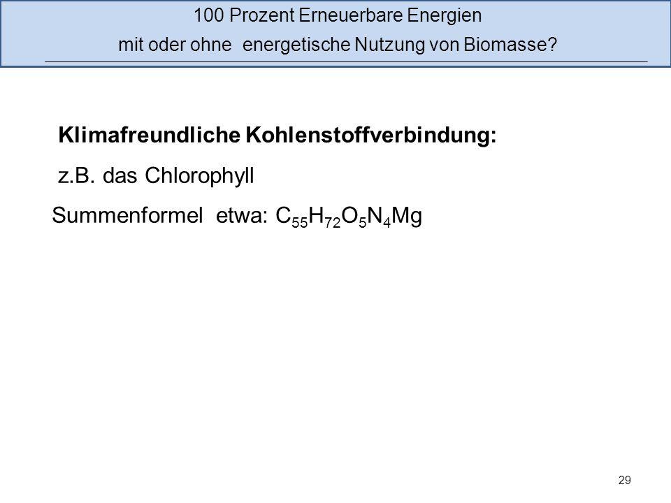 Klimafreundliche Kohlenstoffverbindung: z.B. das Chlorophyll