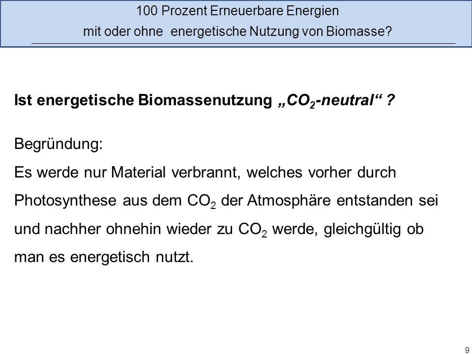 """Ist energetische Biomassenutzung """"CO2-neutral Begründung:"""