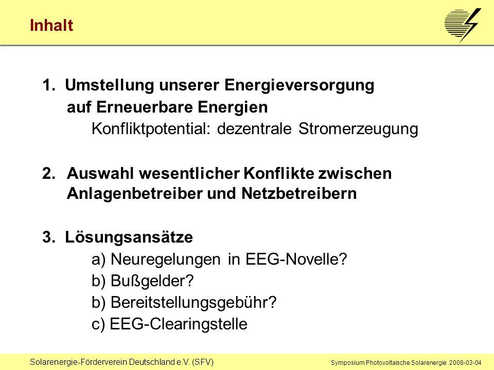 1. Umstellung unserer Energieversorgung auf Erneuerbare Energien