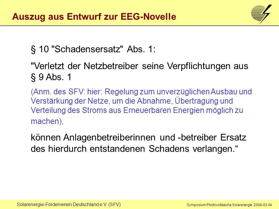 Auszug aus Entwurf zur EEG-Novelle