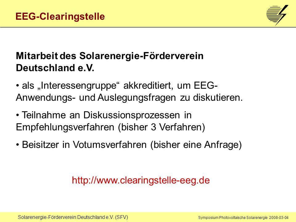 Mitarbeit des Solarenergie-Förderverein Deutschland e.V.