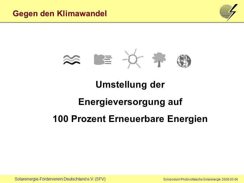 Energieversorgung auf 100 Prozent Erneuerbare Energien
