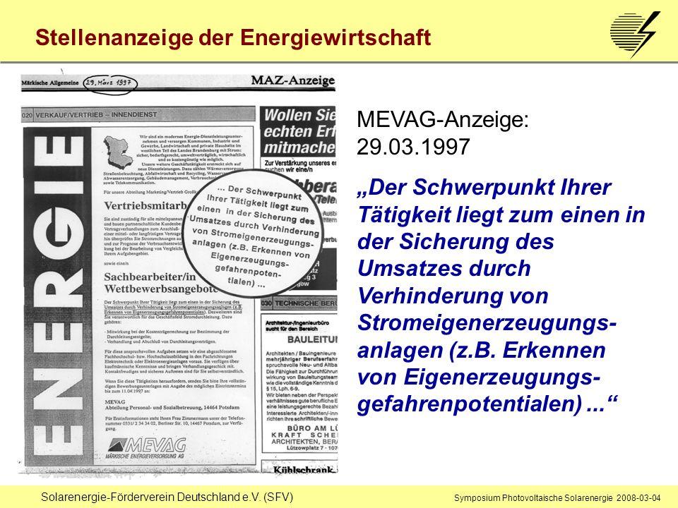 Stellenanzeige der Energiewirtschaft