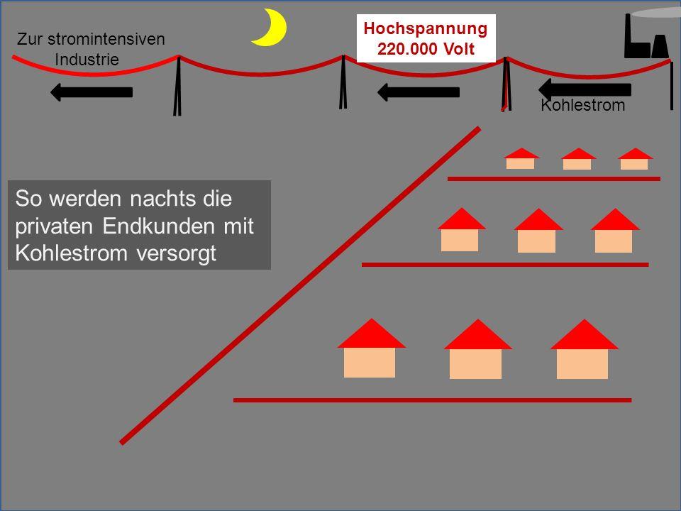 So werden nachts die privaten Endkunden mit Kohlestrom versorgt