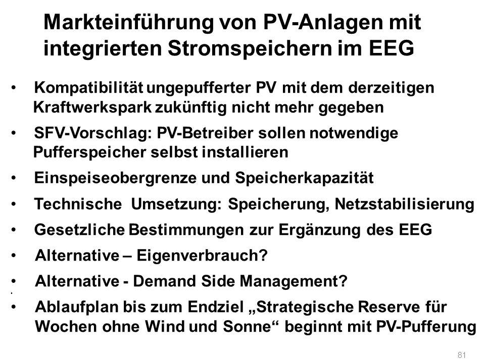 Markteinführung von PV-Anlagen mit integrierten Stromspeichern im EEG