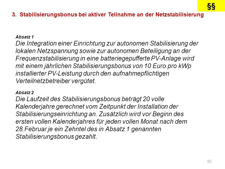 §§ 3. Stabilisierungsbonus bei aktiver Teilnahme an der Netzstabilisierung. Absatz 1.