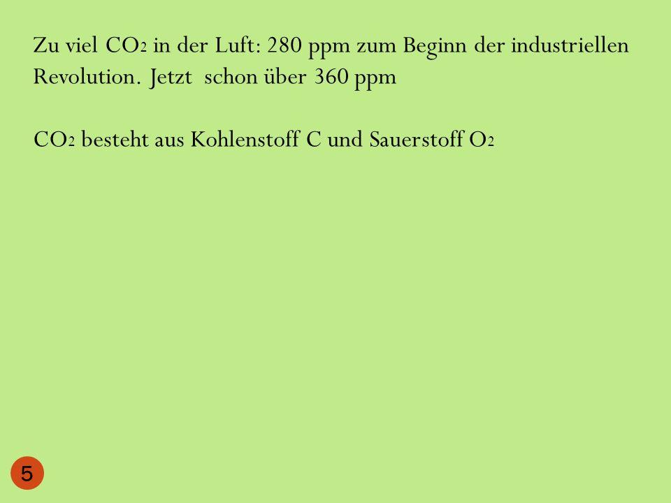 Zu viel CO2 in der Luft: 280 ppm zum Beginn der industriellen Revolution. Jetzt schon über 360 ppm