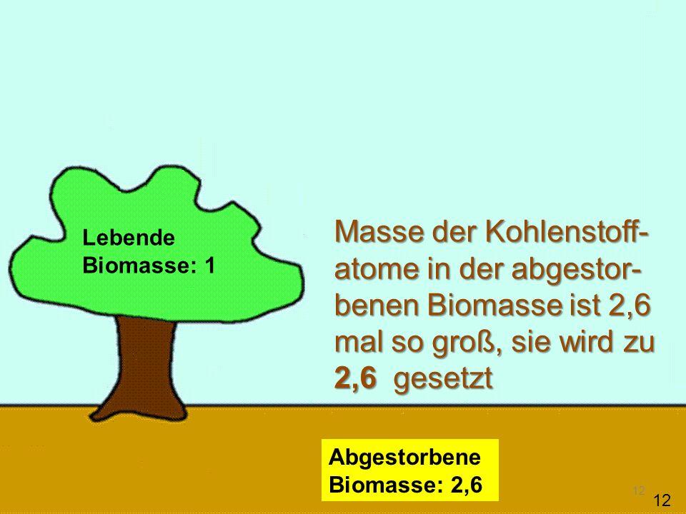 Masse der Kohlenstoff-atome in der abgestor-benen Biomasse ist 2,6 mal so groß, sie wird zu 2,6 gesetzt