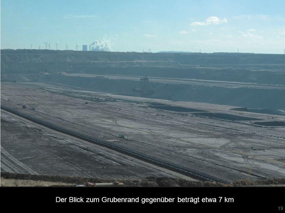 Der Blick zum Grubenrand gegenüber beträgt etwa 7 km
