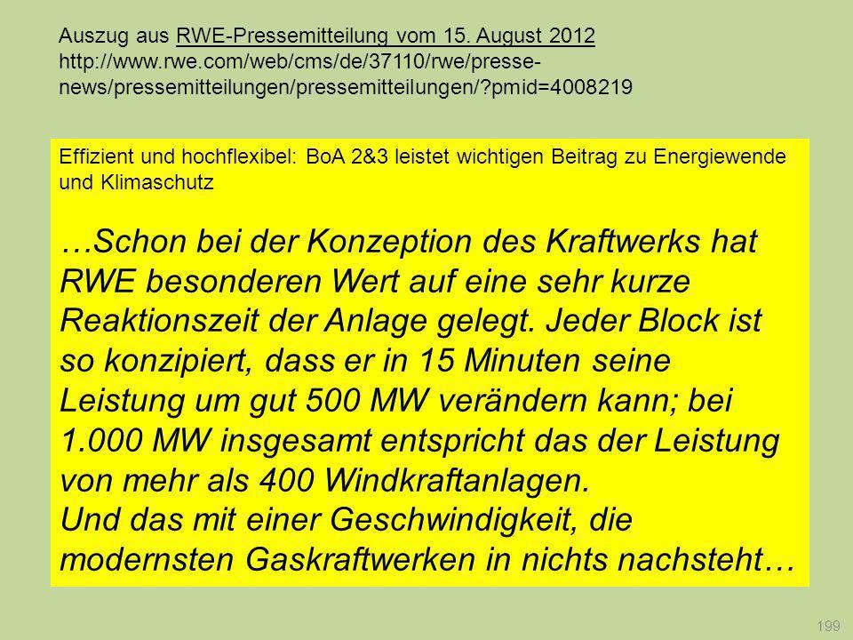 Auszug aus RWE-Pressemitteilung vom 15. August 2012 http://www. rwe