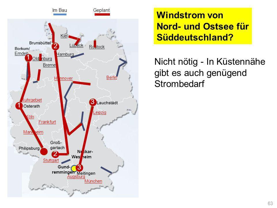 Im Bau Geplant. Windstrom von Nord- und Ostsee für Süddeutschland Kiel. 2. Lübeck. Rostock. Borkum/