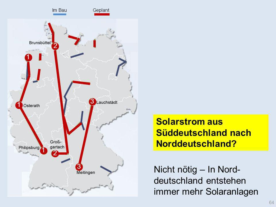 Im Bau Geplant. 2. 1. 3. 1. Solarstrom aus Süddeutschland nach Norddeutschland 1.