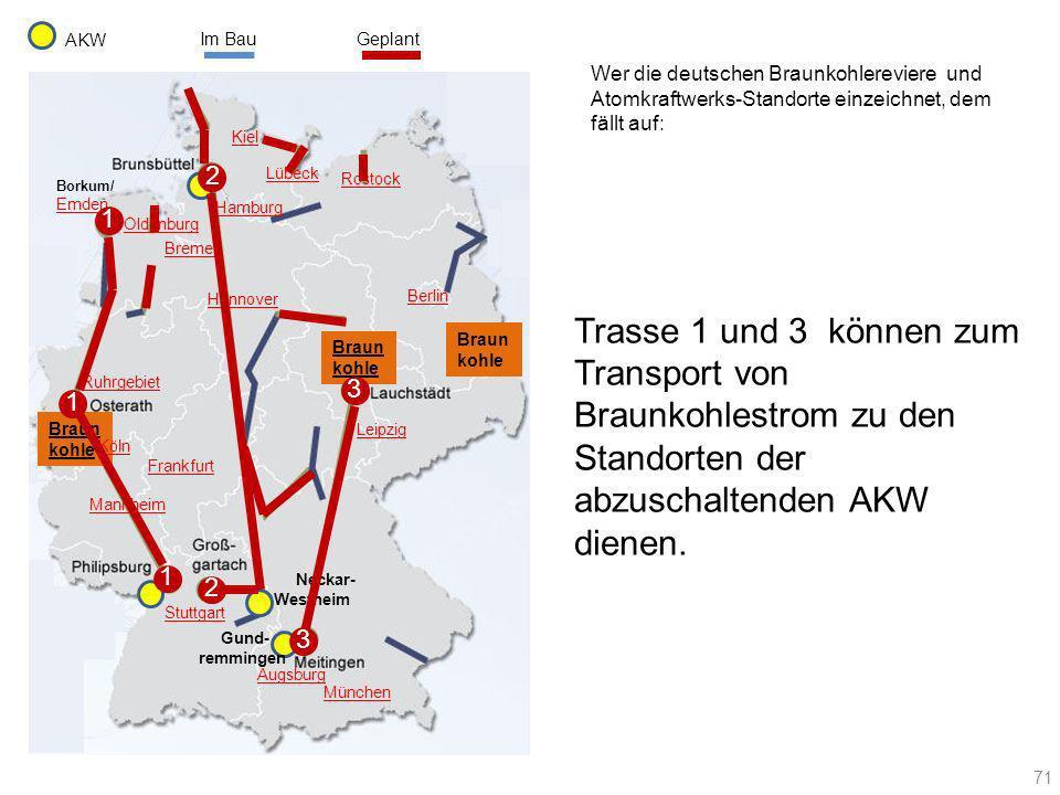 AKW Im Bau. Geplant. Wer die deutschen Braunkohlereviere und Atomkraftwerks-Standorte einzeichnet, dem fällt auf: