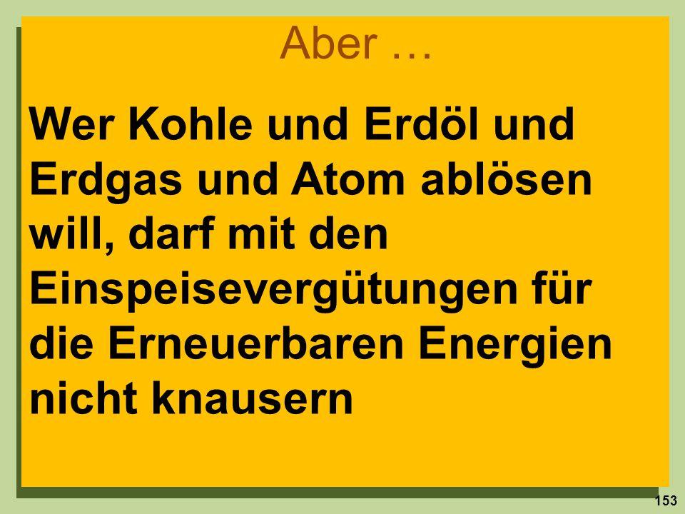 Aber … Wer Kohle und Erdöl und Erdgas und Atom ablösen will, darf mit den Einspeisevergütungen für die Erneuerbaren Energien nicht knausern.
