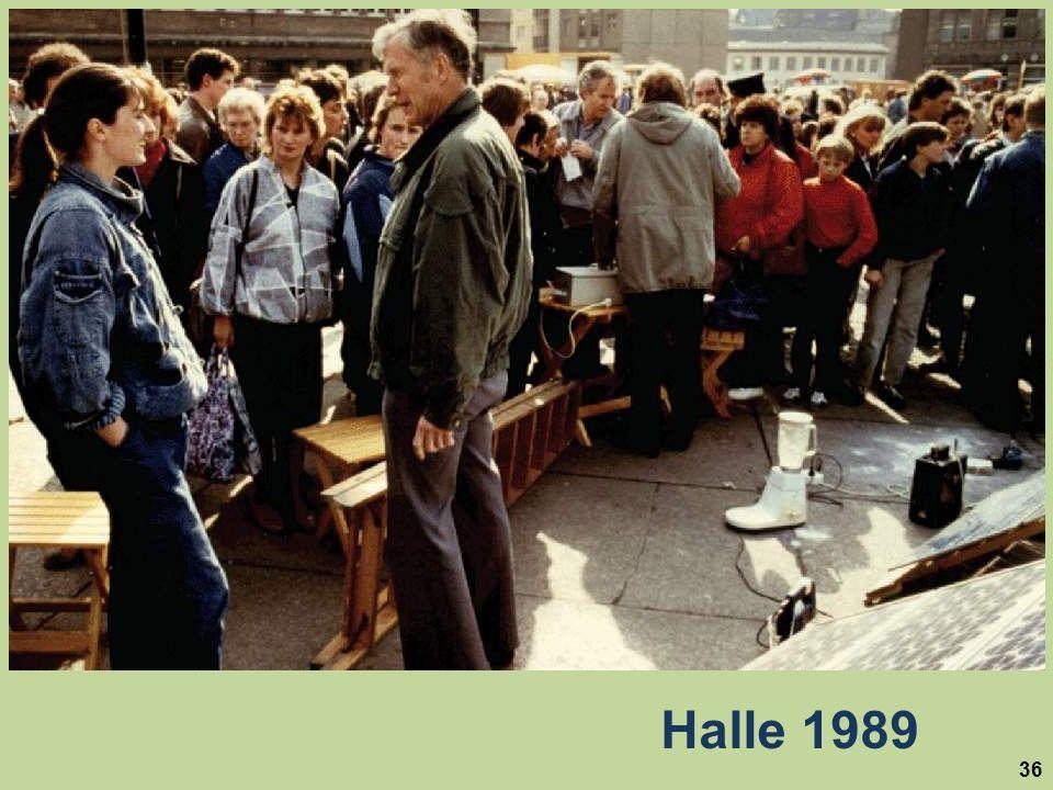 Hier eine Solarvorführung 1989 in Halle (Saale), in der ehemaligen DDR kurz nach Öffnung der innerdeutschen Grenze.