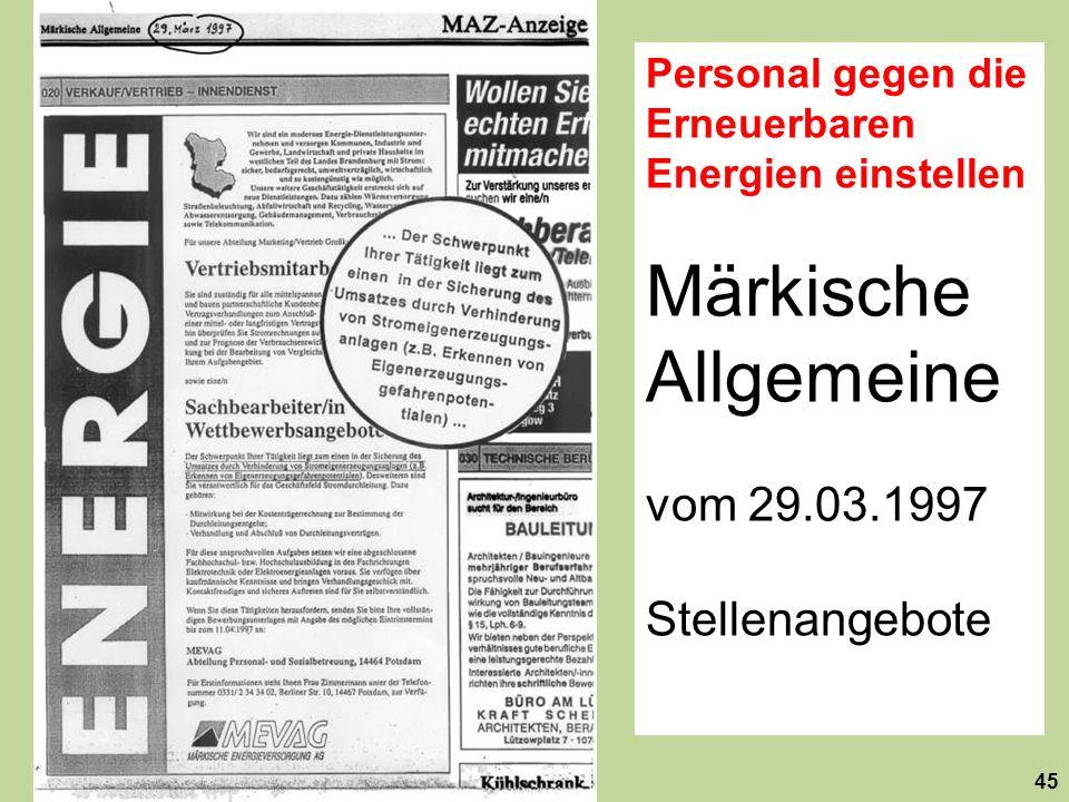 Märkische Allgemeine vom 29.03.1997 Stellenangebote