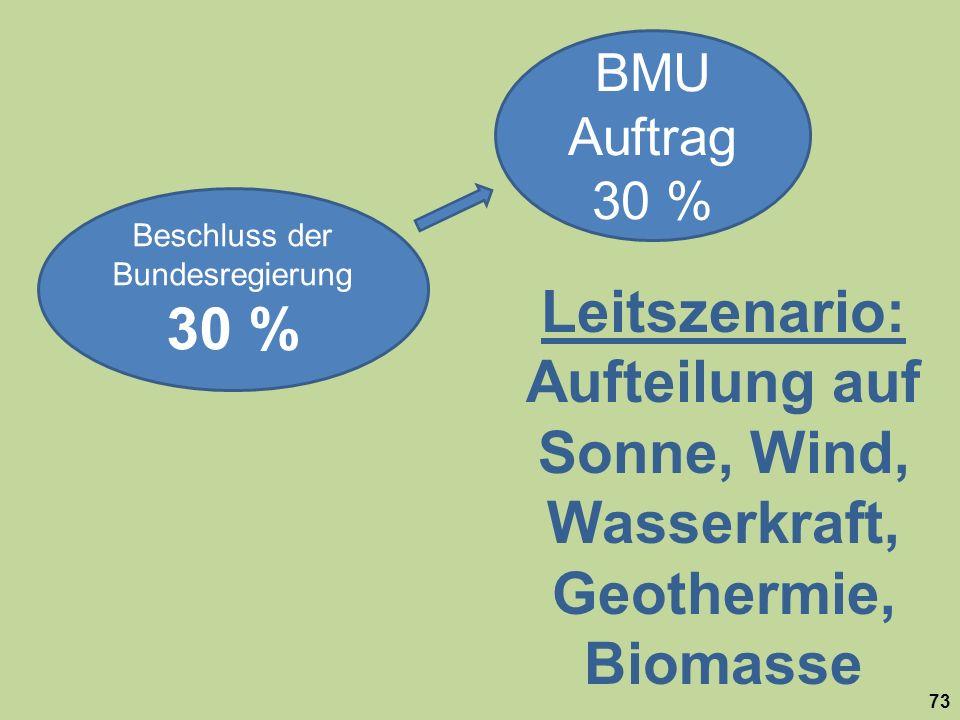 Aufteilung auf Sonne, Wind, Wasserkraft, Geothermie, Biomasse