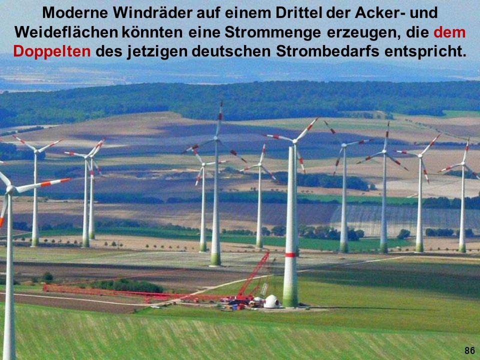 Moderne Windräder auf einem Drittel der Acker- und Weideflächen könnten eine Strommenge erzeugen, die dem Doppelten des jetzigen deutschen Strombedarfs entspricht.