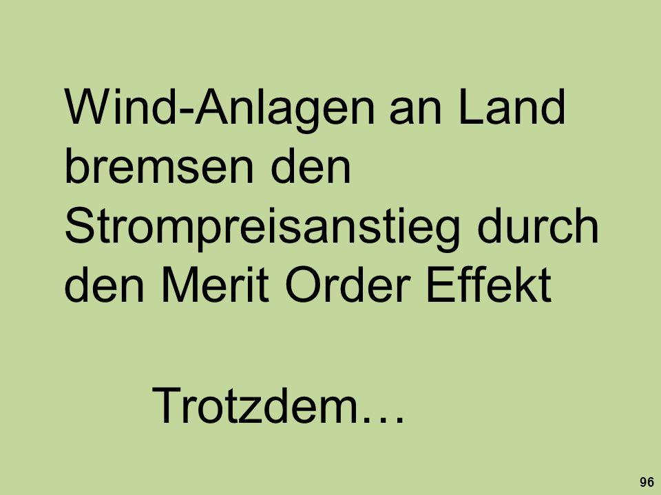 Wind-Anlagen an Land bremsen den Strompreisanstieg durch den Merit Order Effekt